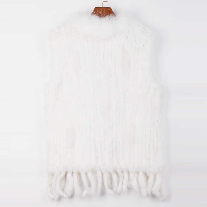 Ethel Anderson Thật 100% Trang Trại Dệt Kim Lông Thỏ Áo Khoác Vest Áo Gilet Thật Gấu Trúc Cổ Lông Tua Rua Phong Cách Tặng nữ
