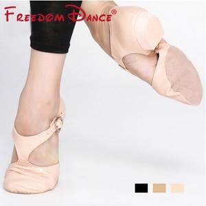 Image 2 - Genuine Leather Stretch Jazz Dance Shoes For Women T Strap Ballet  Lyrical Dancing Shoe Teacherss Dance Sandals Excercise Shoe