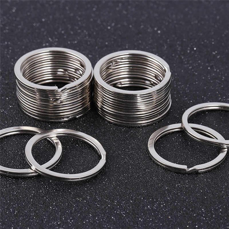 10 шт. 28 мм брелок разделенные кольца с никелевым компас-брелок металлический Серебряный цвет брелок DIY аксессуары P002