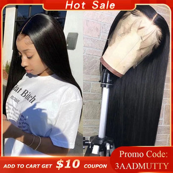 Straight Lace Front Human Hair Wigs Pre plucked HD Transparent Wig With Baby Brazilian Remy Closure - discount item  46% OFF Human Hair (For Black)