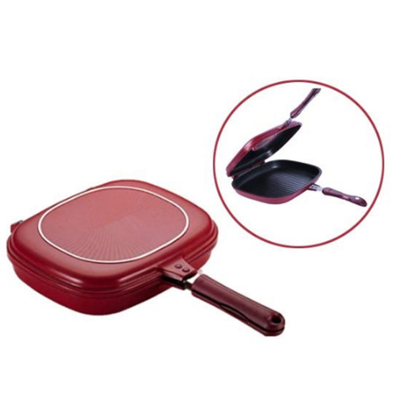 Double-sided Frying Pan Non-stick Baking Tray Portable For Home Kitchen Cooking PAK55
