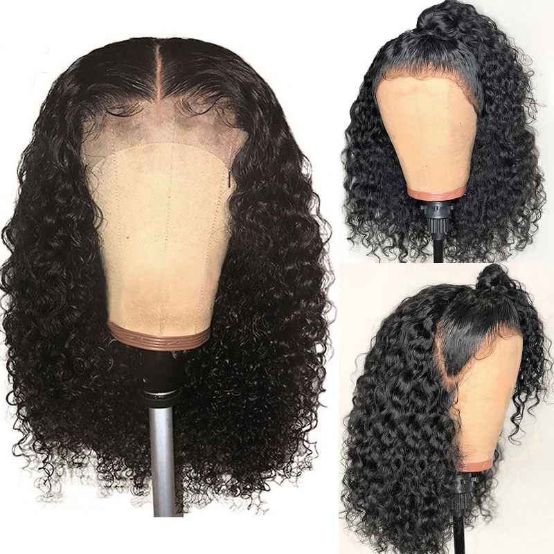 13x6 Short Curly Wig Lace Front Human Hair Wigs For Women 250 Density 360 Lace Frontal