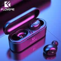 Floveme mini tws5.0 bluetooth sem fio fone de ouvido esporte fones de ouvido 3d estéreo som micro caixa carregamento