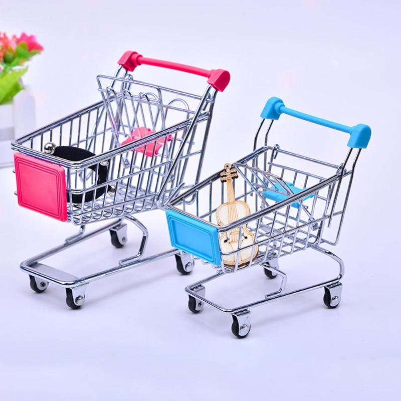 Mini Supermarket Hand Trolleys Mini Shopping Cart 11cmx8cmx11.5cm Desktop Decoration Storage Phone Holder Baby Toy New(China)