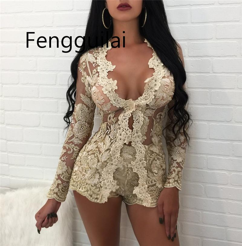 FENGGUILAI New 2 Piece Set Women Elegant Transparent Mesh Floral Lace Top And Pants Sexy Crop With Shorts