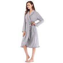 עיצוב נשים הלבשת אלגנטי קימונו Robe גבירותיי חורף סתיו מזדמן חלוק רופף לפרוע Soild אמבטיה ספא גלימות נשים