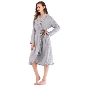Image 1 - Tasarım Kadın Pijama Zarif Kimono Robe Bayanlar Kış Sonbahar Rahat Bornoz Gevşek Fırfır Katı Banyo Spa Elbiseler Kadınlar Için