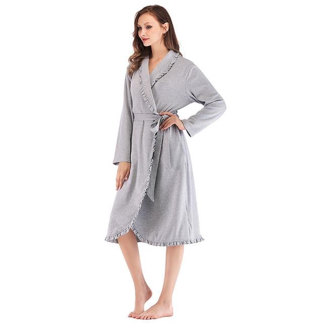 Tasarım Kadın Pijama Zarif Kimono Robe Bayanlar Kış Sonbahar Rahat Bornoz Gevşek Fırfır Katı Banyo Spa Elbiseler Kadınlar Için
