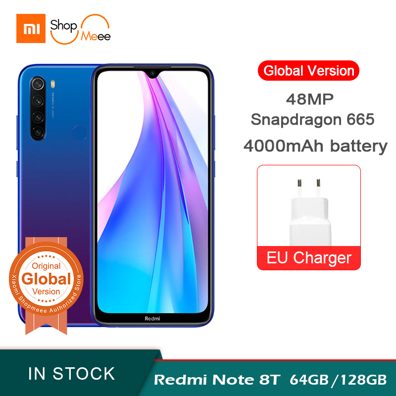 Global Version Xiaomi Redmi Note 8T 64GB 128GB Smartphone NFC Snapdragon 665 48MP Quad Camera 4000mAh 18W Fast Charging