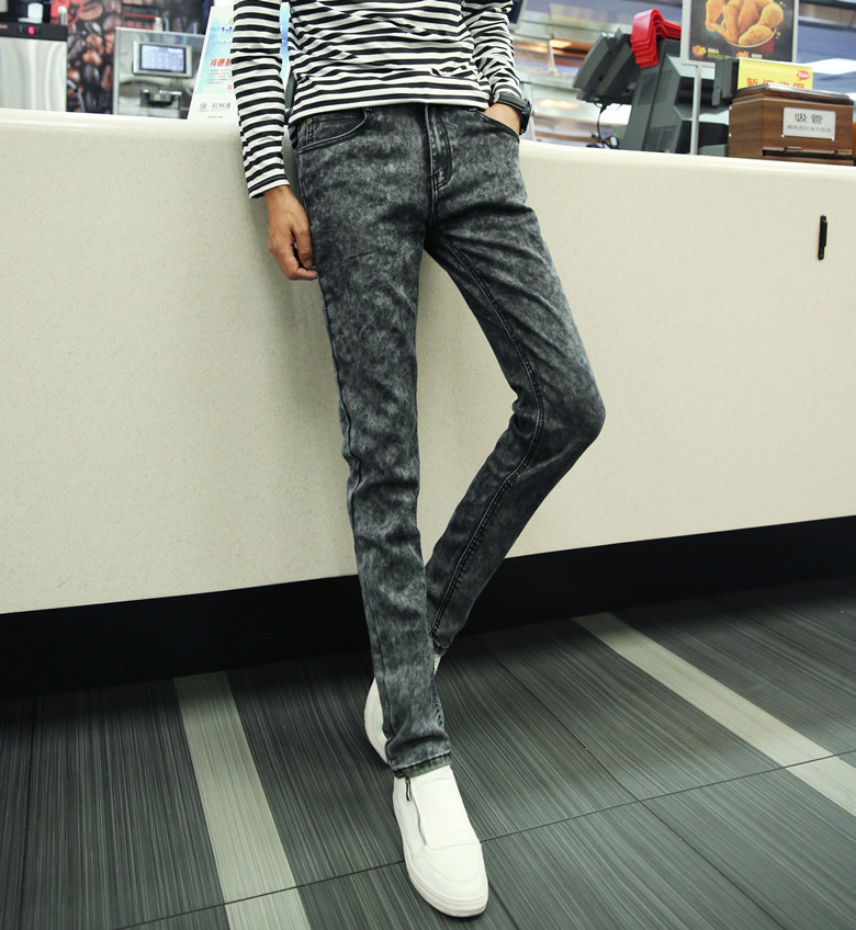 MEN'S Jeans Korean-style Slim Fit Students Long Black Gray Skinny Pants Autumn Tight-Fit Stretch Pants