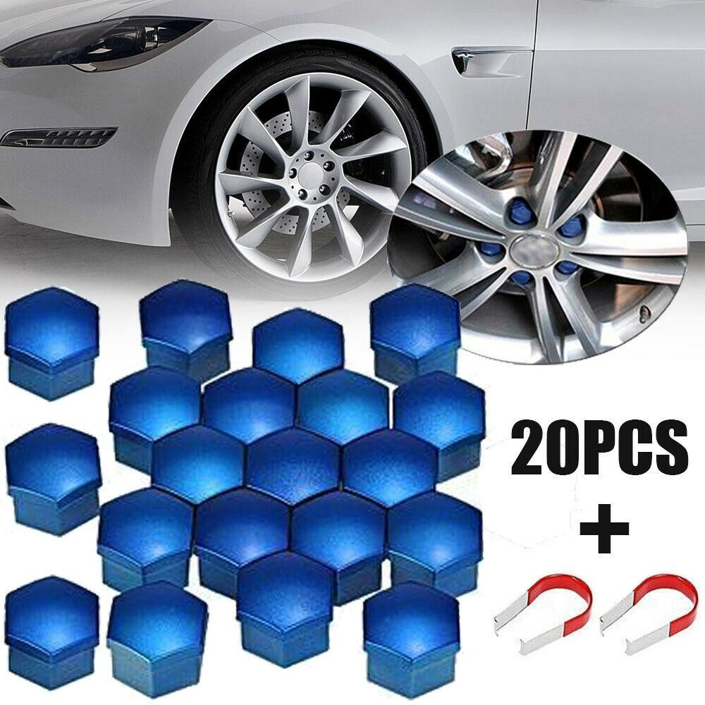 20x 17mm Car Hub Screw Cover Wheel Nut Cap Bolt Rims Nuts+Removal Tool Blue Car Wheel Nut Cap With Removal Tool