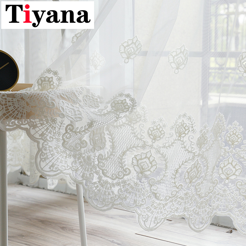 Europe Embroidered White Lace Tulle Voile Sheer Curtain Panels For Living Room Window Screen Bedroom Sliding Glass Door JK042Y