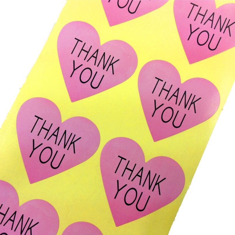 100pcs/lot Vintage Thank You And Handmade With Love Series Romatic Heart Design For Multiple Styles Paper Stickers