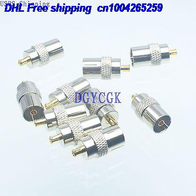 DHL 200pcs Conversion Adapter MCX male M connector to IEC TV female F RF for Antenna connector 22-ct
