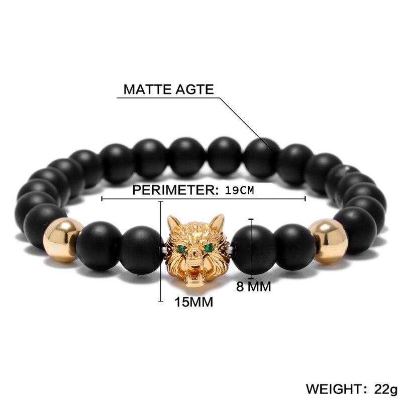 Bracelet tête de loup Viking Onyx perles brin  5