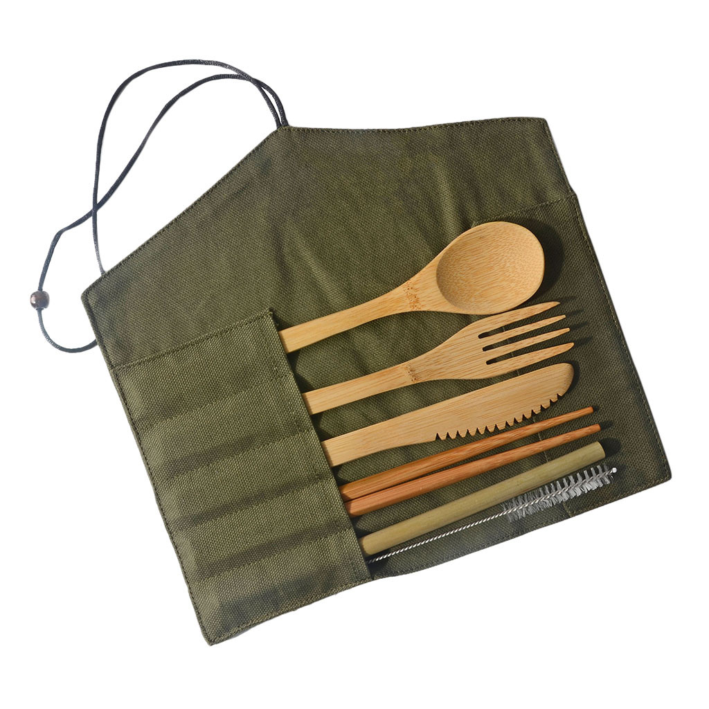 7*Wood Flatware Cutlery Bamboo Straw Dinnerware Knives Fork Spoon Chopsticks kit