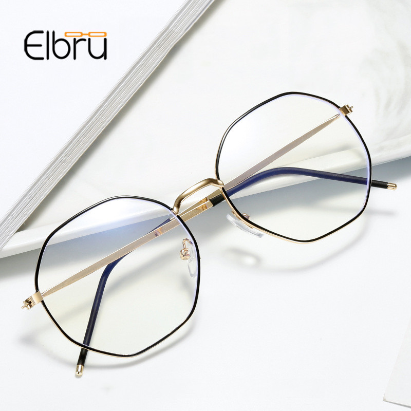 Elbru Anti-blue Light Metal Eyeglasses Frame Women Men Clear Lens Glasses Fake Glasses Irregular Optical Glasses Frame