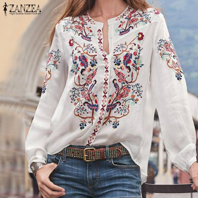 ZANZEA 2020 Fashion Printed Tops Women's Autumn Blouse Bohemian V Neck Long Sleeve Shirts Female Casual Loose Blusas Plus Size(China)