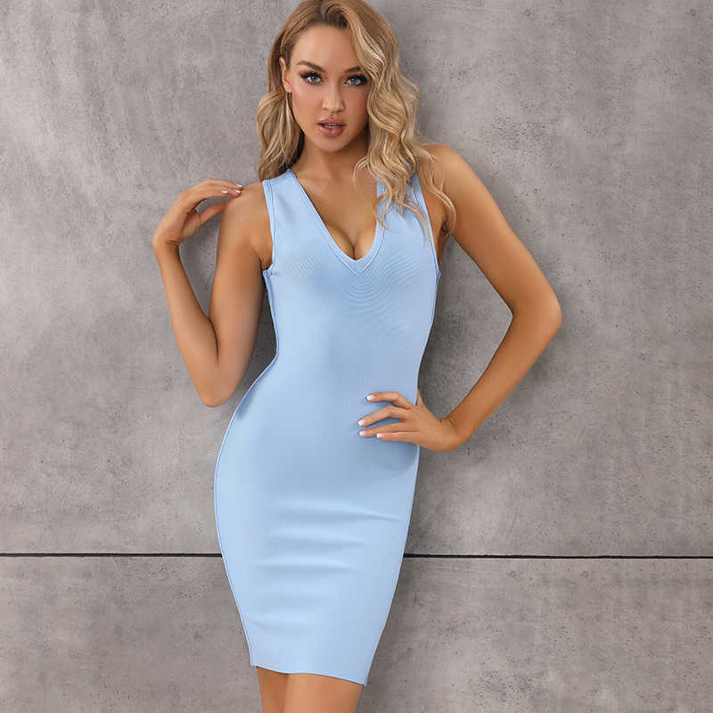 Nieuwe Collectie Sexy V-hals Backless Sky Blue Bodycon Vrouwen Bandage Jurk 2020 Designer Zomer Fashion Avond Party Dress Vestido