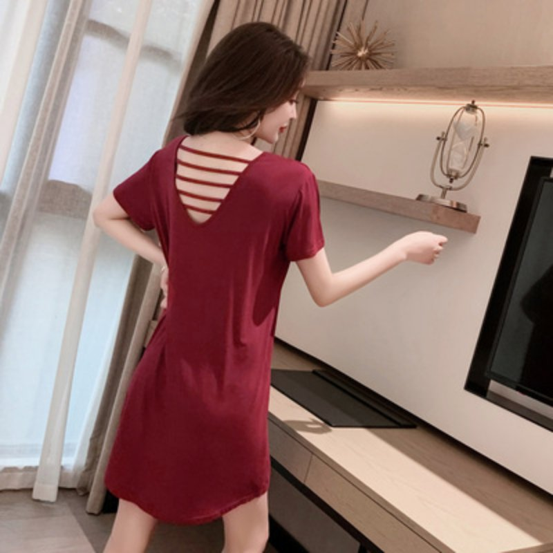 2019 Large Size Modal Cotton Short-sleeved Halter Loose Casual Nightdress O Collar Solid Color Ladies Nightdress Rk