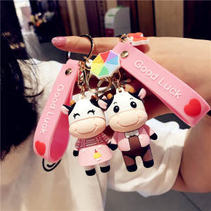 Keychain Keyring Pendant-Accessories Cartoon Holiday-Gifts Girl Cute Bag Dairy Cow-Doll