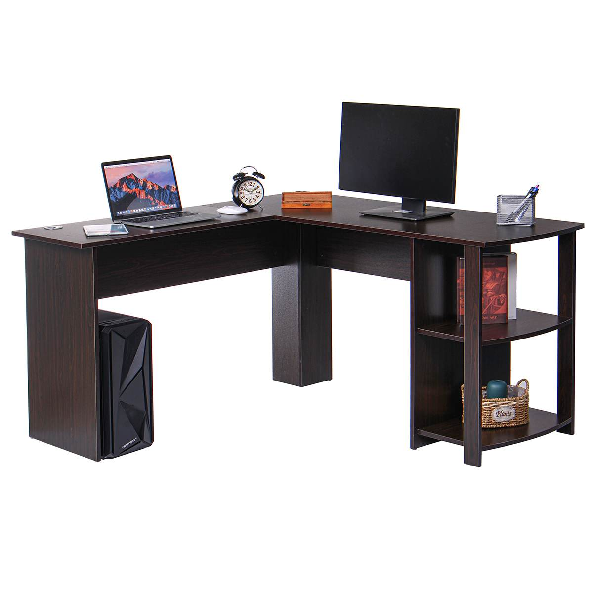 L-Shaped Corner Computer Office Desk With Book Shelves Home Desk Commercial Furniture Table Laptop Table Computer Desk