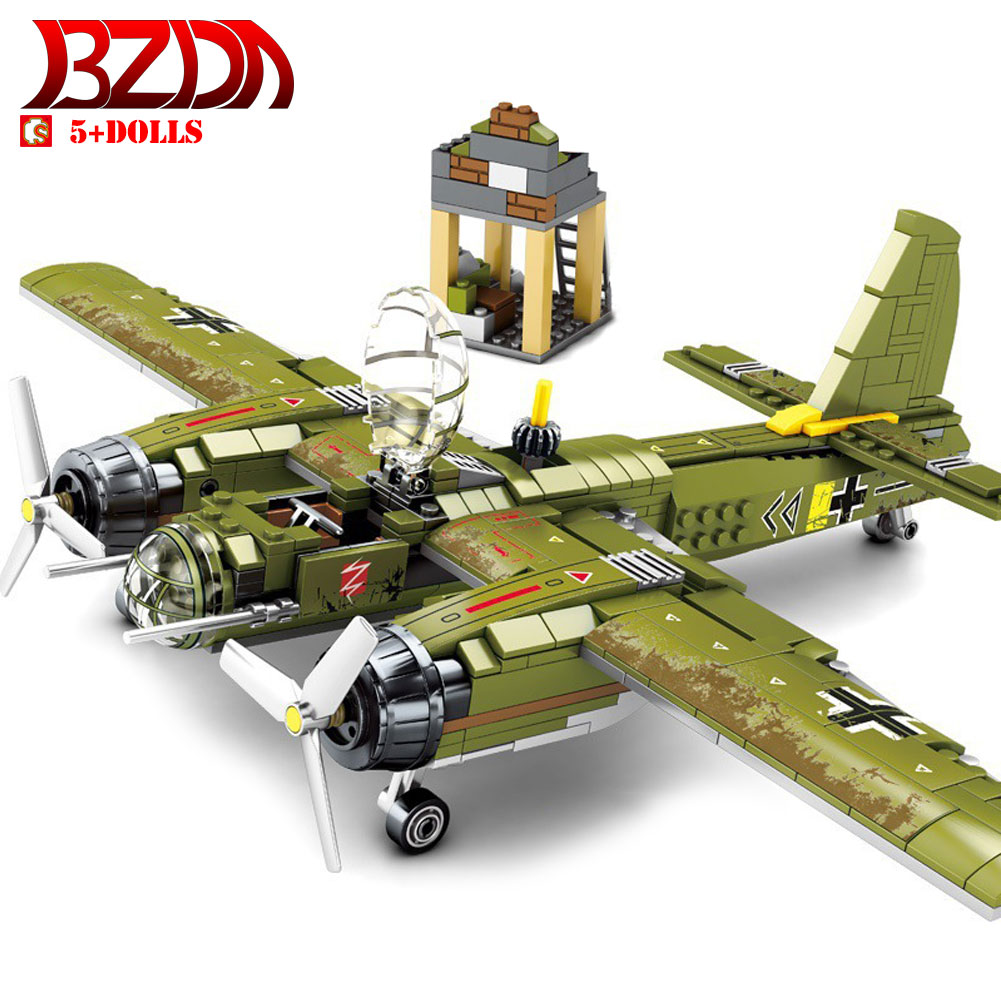 BZDA WW2 Bombing Airplane Military Bombing Fighter model Building Blocks Compatible Major Brands Army Toys for Children Boy