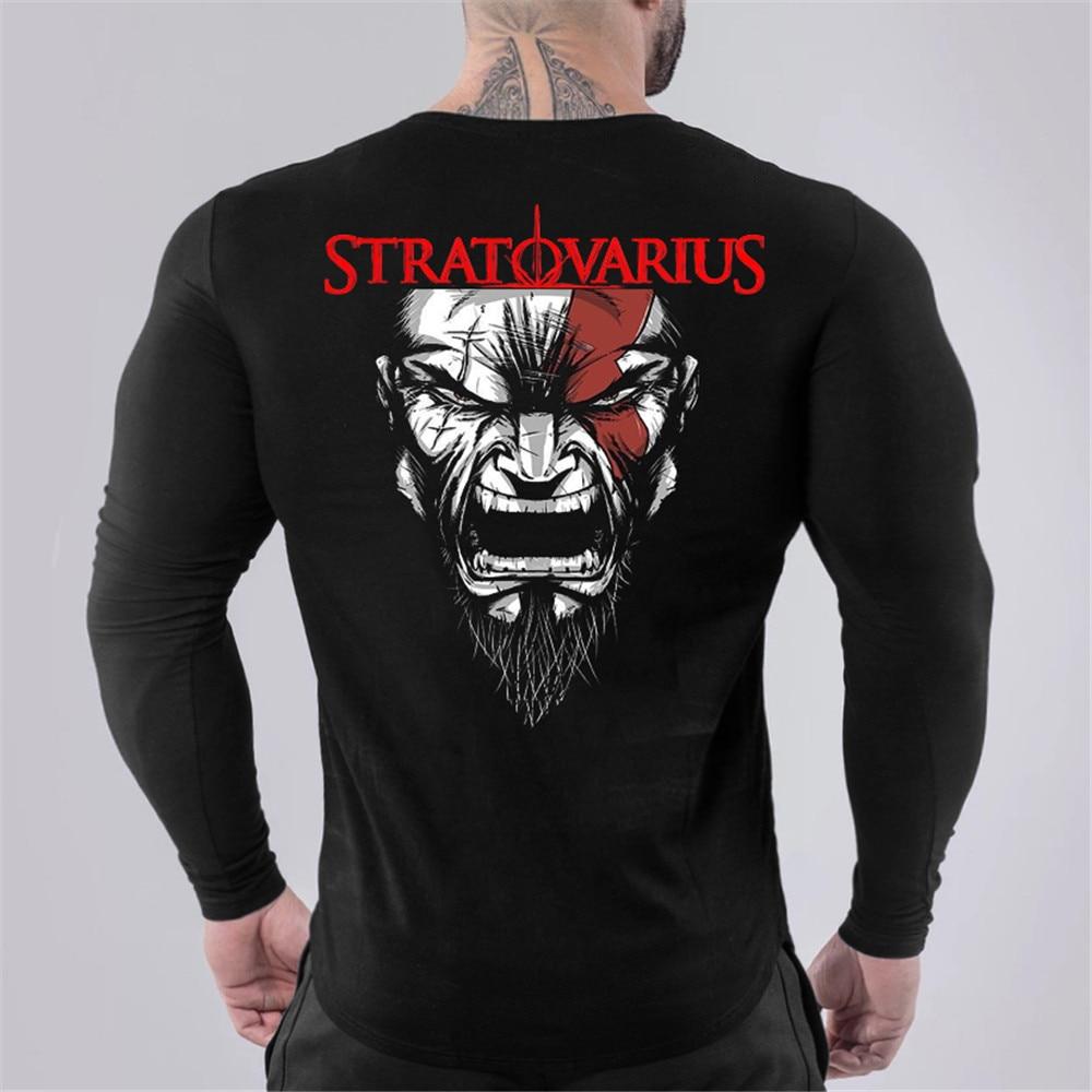Running Quick Dry T-shirt Men Gym Long Sleeve Skinny T Shirt Male Fitness Bodybuilding Jogging Training Sport Printed Tees Tops