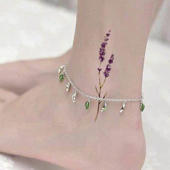 Wodoodporna tymczasowa naklejka tatuaż słodkie sexy kwiaty lawendy pozostawia tatuaż transferu wody fałszywy tatuaż dla kobiet tanie i dobre opinie CN (pochodzenie) Tattoos Sticker