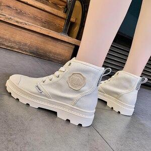 Image 3 - Zapatos planos SWYIVY con botas Martin, zapatos de plataforma para mujer, nuevos botines de mujer de lona de otoño 2019, zapatos femeninos transpirables sólidos