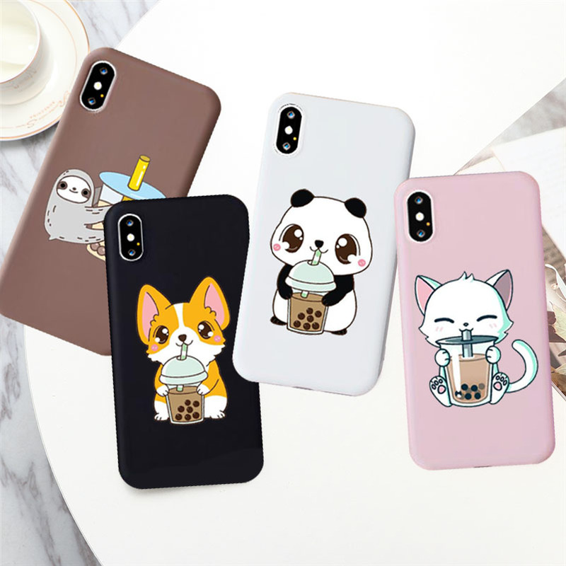 Cute Milk Tea Boba Drink Phone <font><b>Case</b></font> <font><b>for</b></font> <font><b>IPhone</b></font> 7 8 Plus 6s X Xs XR 11 Pro Max Food Kawaii Corgi Cat Bear Panda <font><b>Cases</b></font> Cover image