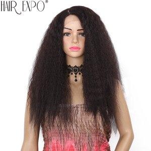 Image 1 - 24 polegada kinky reta peruca dianteira do laço sintético longo perucas de cabelo macio para as mulheres negras 150% densidade resistente ao calor do cabelo expo cidade