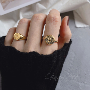 925 Sterling Silver Europe Personality Abstract Portrait Ring Retro Patterns Ring Party Elegant Luxury Bridal Jewelry 18K Gold
