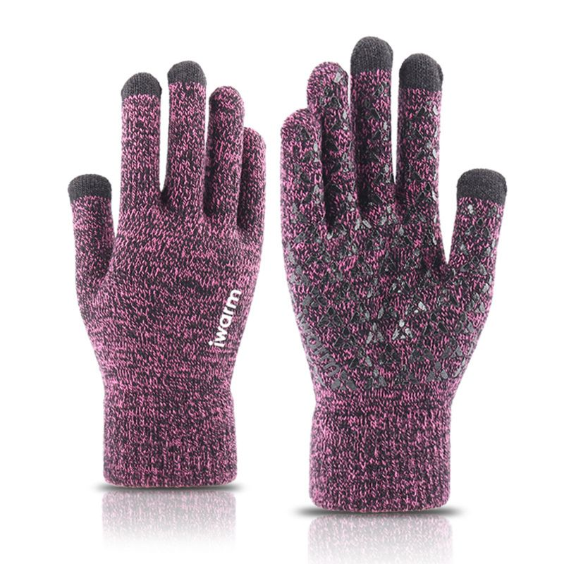 Mens Womens Paar Winter Stricken Volle Finger Handschuhe Magic Touch Screen Verdickt Thermische Futter Rippen Manschette Anti-Slip Fäustlinge image