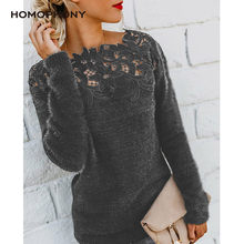HOMOPHONY Women Sweaters Lace Neck Plus Size Long Sleeve Thin Sweater Women Autumn Jumper Office Ladies Tops Pullover kobiety bl