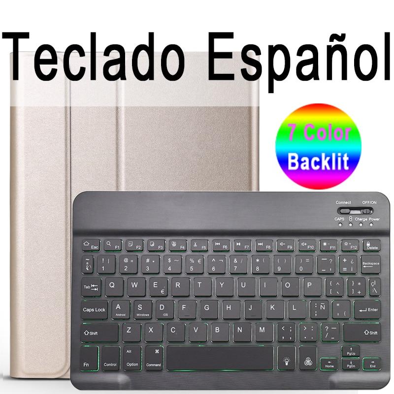 Spanish Keyboard Khaki 7 Colors Backlit 3 0 Bluetooth Keyboard Case for iPad 10 2 Keyboard Case for Apple