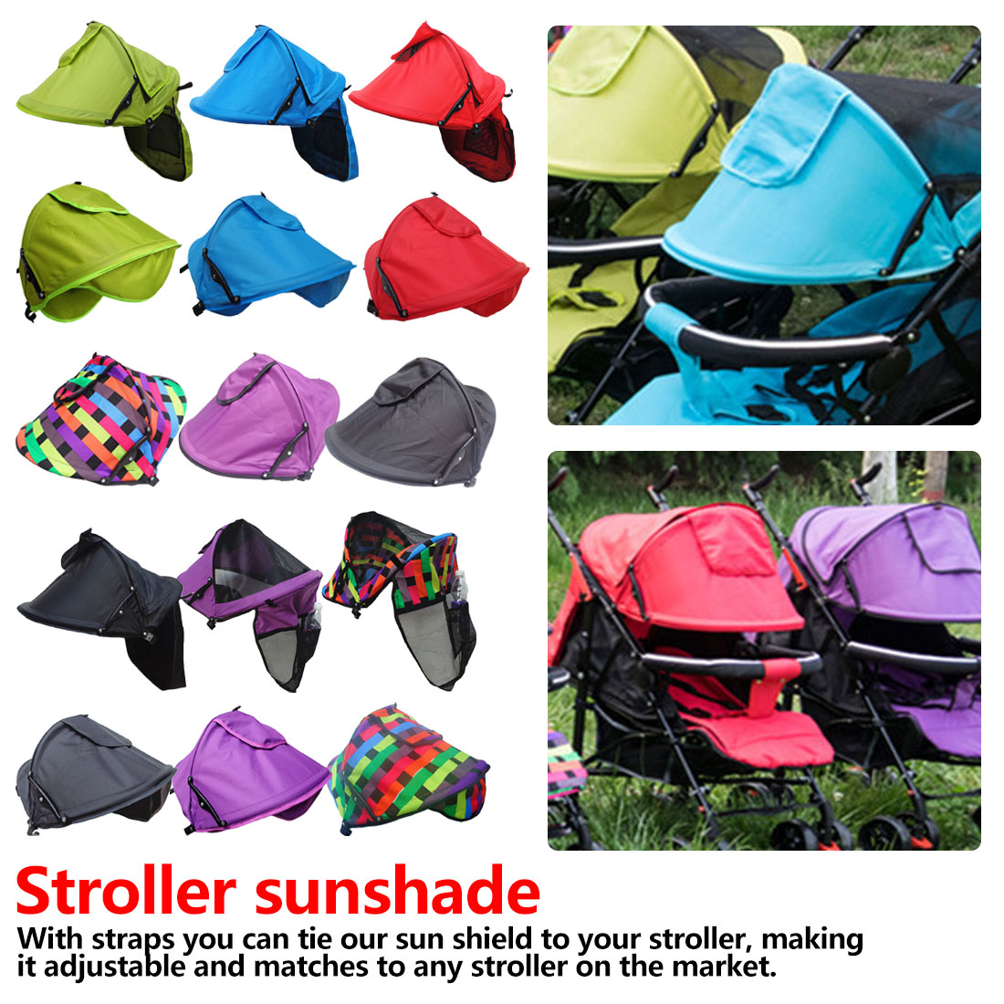 Baby Stroller Accessories Carriage Sun Shade Kids Stroller Sunshade Cover Prams Windproof Hood Canopy Cover Stroller Sun Visor