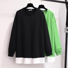 2XL-6XL Plus Size Autumn Women Sweatshirts Cotton Casual Long Sleeve Patchwork Tops Pullover 5XL Large Big Sweatshirt
