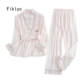 Fiklyc ropa interior PRIMAVERA/otoño dos piezas pijama para mujer de invierno pijamas de manchas conjuntos con manga larga y pantalones gran oferta
