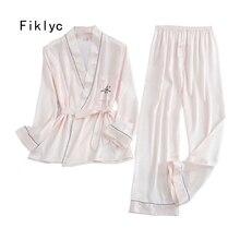 ملابس داخلية من Fiklyc لفصل الربيع والخريف قطعتين طقم بيجاما موخير invierno للسيدات بأكمام طويلة وبنطلون تخفيضات ساخنة