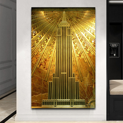 Golden Empire State Building Poster Modern Art Canvas Painting Prints and Pictures Wall Art Pictures for Living Room Cuadros