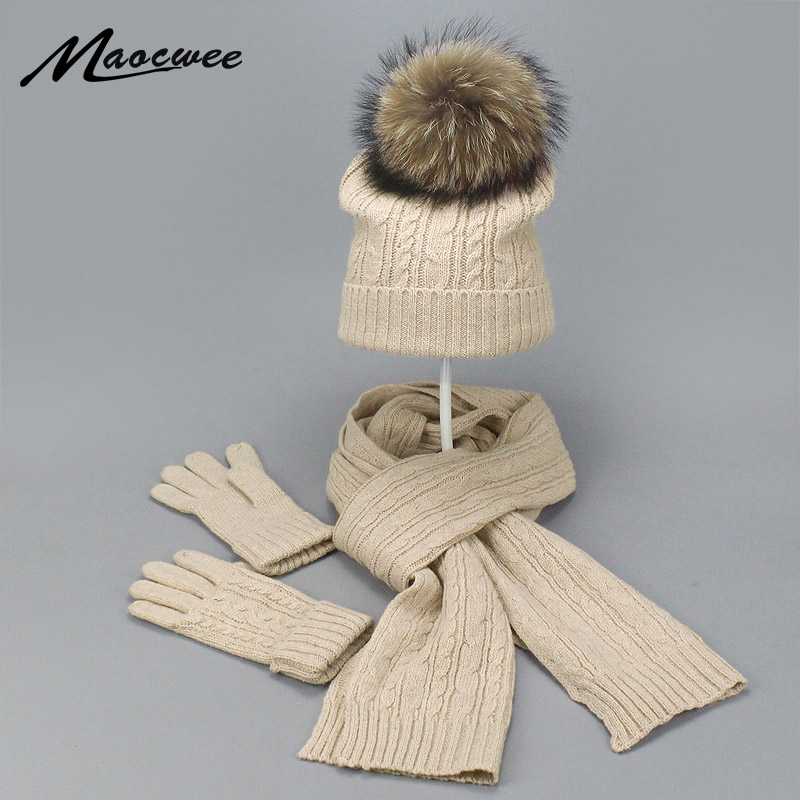 Real Fur Pompom Winter Knitted Hats For Women Hat Scarf Glove Set 3 Piece Sets Twist Stripes Cap Gorros Bonnet Beanie Skullies