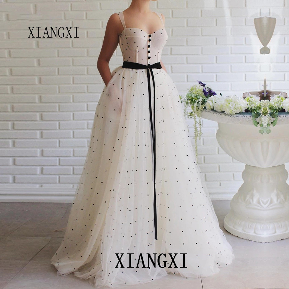 Party Gown Charming Ivory Evening Dresses 2020 Spagheti Strap Butto Long Evening Dress A-Line Formal Gowns Vestido De Festa