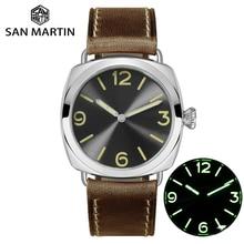Модные Простые Автоматические Мужские механические часы из нержавеющей стали San Martin, часы с кожаным ремешком, водонепроницаемые, 200 м