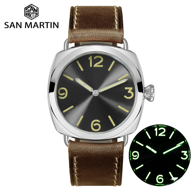 San Martin Stainless Steel Fashion Simple Automatic Mens Mechanical Watch Holvin Leather Strap Relojes 200M Water Resistant