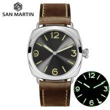 San Martin acier inoxydable mode Simple automatique hommes montre mécanique Holvin bracelet en cuir Relojes 200M résistant à leau
