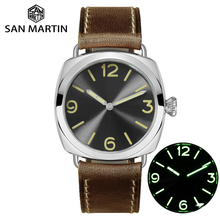 San Martin moda ze stali nierdzewnej prosty automatyczny męski zegarek mechaniczny Holvin skórzany pasek Relojes 200M wodoodporny