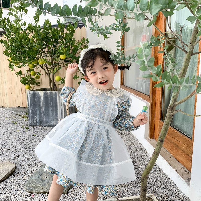 Spring New Arrival Korean Style Cotton Sweet Flowers Pattern Long Sleeve Dress With Lace Hollow Collar For Cute Baby Girls