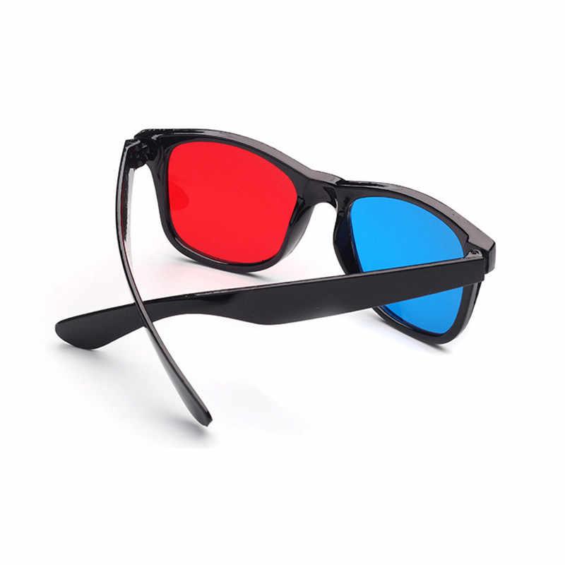 العالمي ثلاثية الأبعاد جديد أسود الإطار البلاستيك النظارات/Oculos/الأحمر الأزرق سماوي ثلاثية الأبعاد الزجاج النقش ثلاثية الأبعاد فيلم لعبة DVD البصر السينما