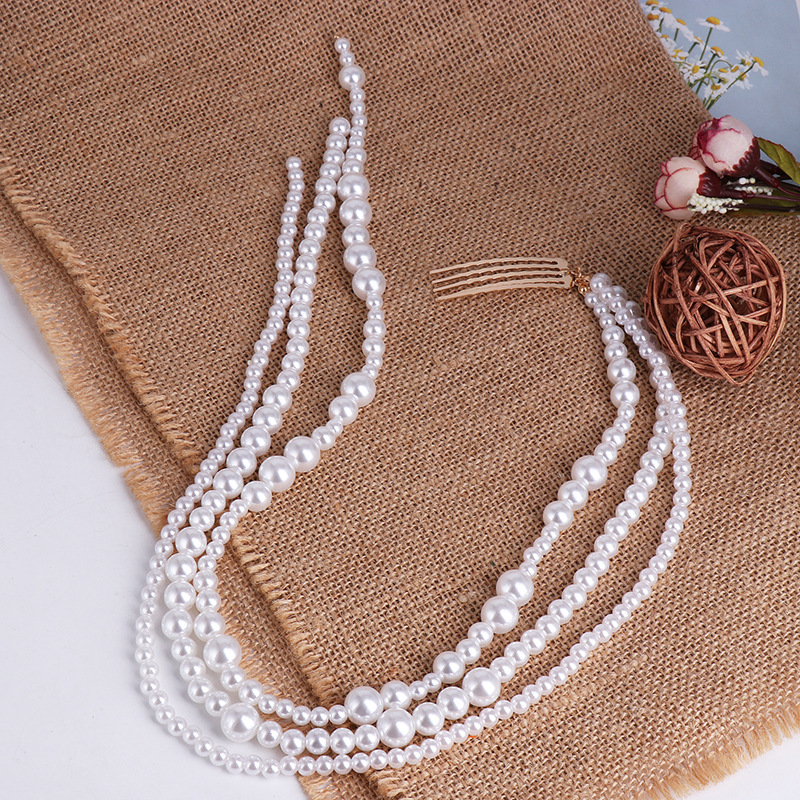Ins Personality Fashion Long Tassel Pearl Hair Clip Stick Beaded Barrettes Top Head Ponytail Hairpin Punk Hairgrips Accessories